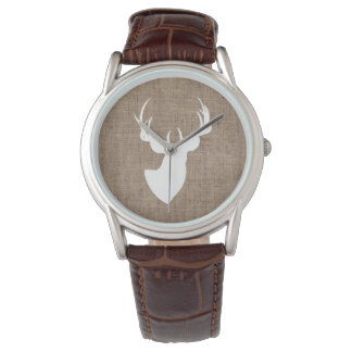 Brown Burlap and White Deer Silhouette Watches