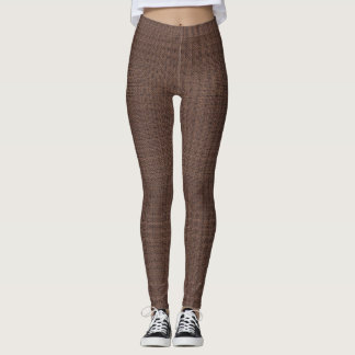 Brown Burlap Look Leggings