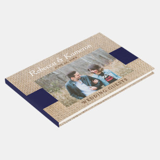 Brown Burlap & Navy Block Photo Wedding Guest Book