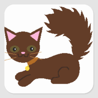 Brown Bushy Tailed Cat Square Sticker