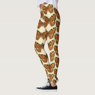 Brown butterflies monogram pattern leggings