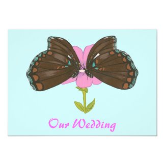 Brown Butterflies on Pink,  Wedding Invitations