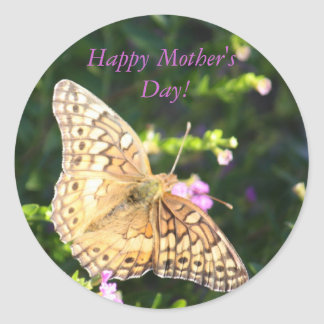 Brown butterfly Mother's Day stickers! Classic Round Sticker