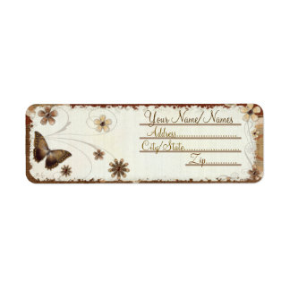 Brown Butterfly Musings Return Address Label