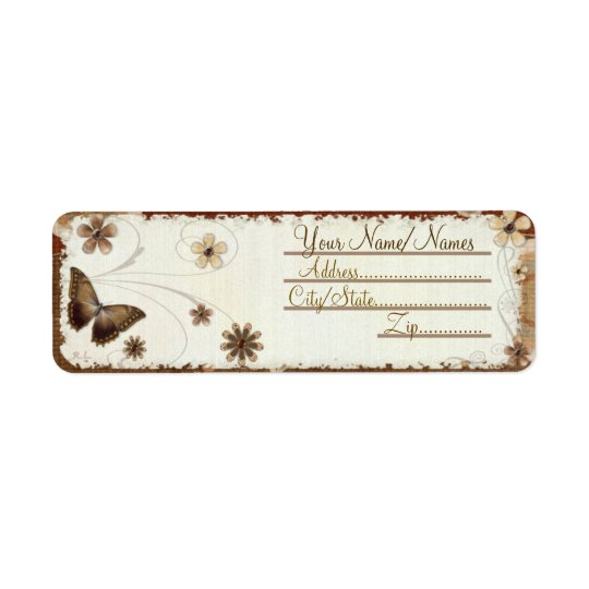 Brown Butterfly Musings Return Address Label