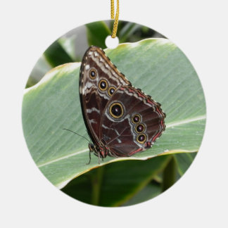 Brown Butterfly Round Ceramic Ornament