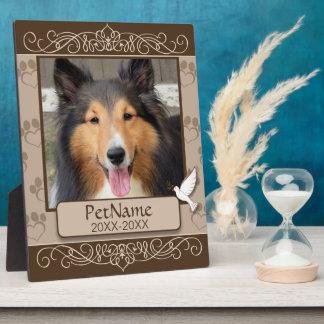 Brown Calligraph Swirls Custom Pet Sympathy Plaque