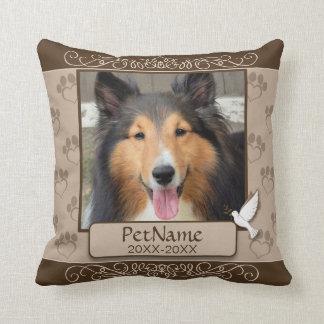 Brown Calligraph Swirls Custom Pet Sympathy Throw Pillow
