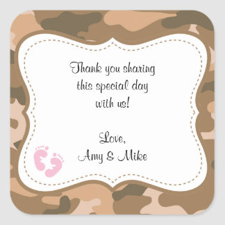 Brown Camo Baby Shower Favor Label w/pink feet Square Sticker