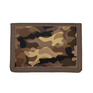 Brown Camoflauge Tri-fold Wallets