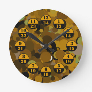 Brown Camouflage Military Time Round Clock