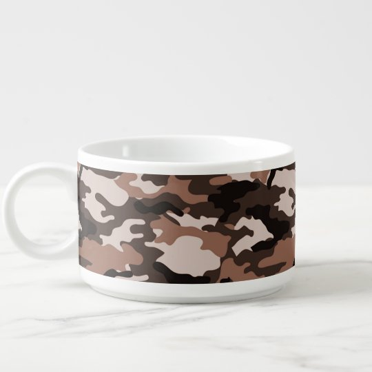 Brown Camouflage Pattern Chili Bowl