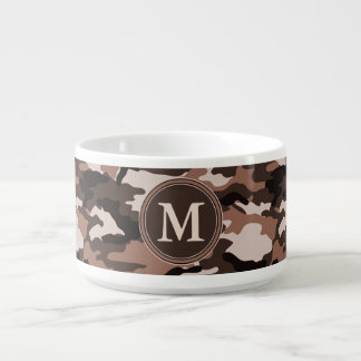 Brown Camouflage Pattern Initial Monogram Bowl