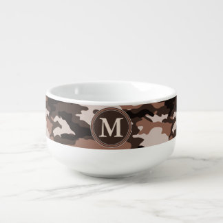 Brown Camouflage Pattern Initial Monogram Soup Bowl With Handle