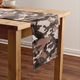 Brown Camouflage Pattern Short Table Runner
