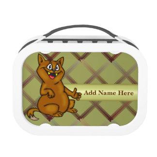Brown Cartoon Cat Lunch Box