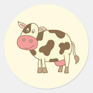 Brown Cartoon Cow Classic Round Sticker