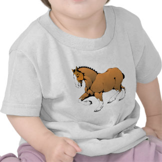 Brown Cartoon Horse Trot T Shirts