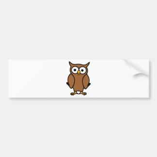Brown Cartoon Owl Bumper Sticker