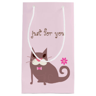 Brown Cat and Pink Flower Gift Bag Small Gift Bag