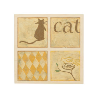 Brown Cat and  Yellow Bird by Chariklia Zarris Wood Print