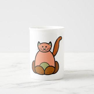 Brown cat cartoon tea cup