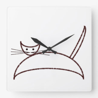 Brown cat clock