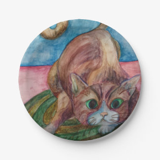 brown cat paper plate