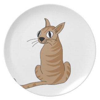 Brown cat party plates