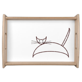 Brown cat service trays