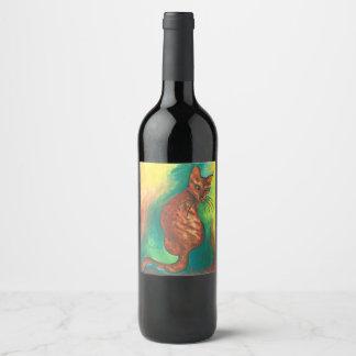 brown cat watercolor wine label