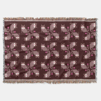 Brown Cat with Bow Tie & Pink Flowers Throw Blanket