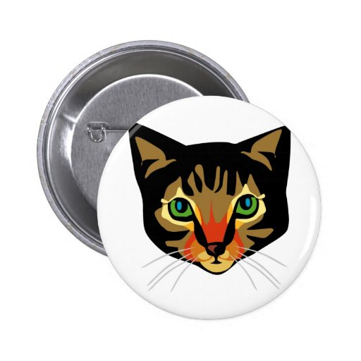 Brown Cat with Green Eyes Button