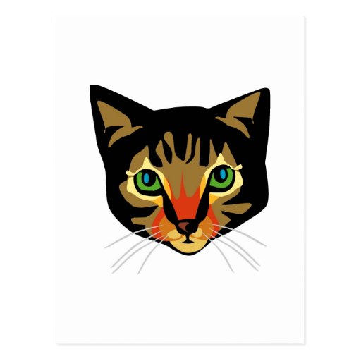 Brown Cat with Green Eyes Post Card