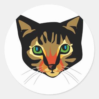 Brown Cat with Green Eyes Round Sticker