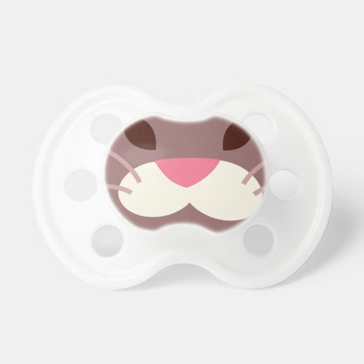 Brown Cat with pink nose Baby Pacifiers