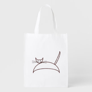 Brown cat market tote