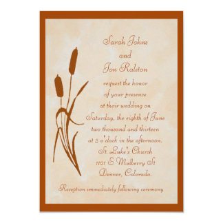 Brown Cattail Wedding Invitation
