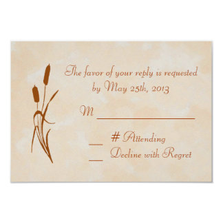 "Brown Cattail Wedding RSVP Card 3.5"" X 5"" Invitation Card"