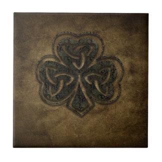 brown celtic knot clover tile