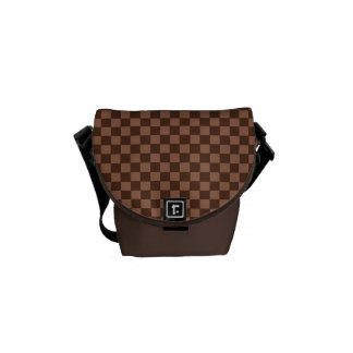 Brown Checker Board Pattern Commuter Bags
