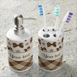 Brown Checks & Beautiful Bows Bathroom Set