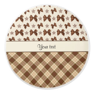 Brown Checks & Beautiful Bows Ceramic Knob