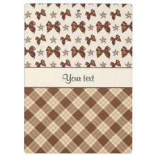 Brown Checks & Beautiful Bows Clipboard