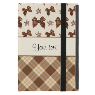 Brown Checks & Beautiful Bows Cover For iPad Mini