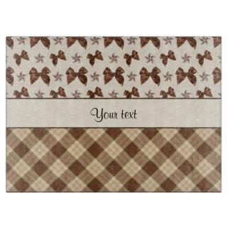 Brown Checks & Beautiful Bows Cutting Board