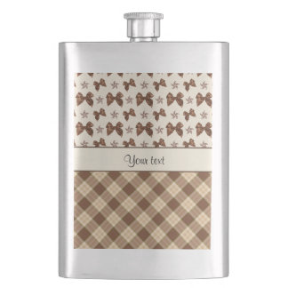 Brown Checks & Beautiful Bows Hip Flask