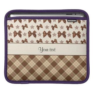 Brown Checks & Beautiful Bows iPad Sleeves