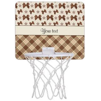 Brown Checks & Beautiful Bows Mini Basketball Hoop