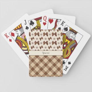 Brown Checks & Beautiful Bows Playing Cards